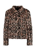 vmLeopard high neck faux fur short jacket