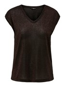 onlSilvery s/s v neck lurex top noos