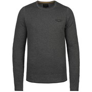 R-neck cotton knit - Antracite Melee