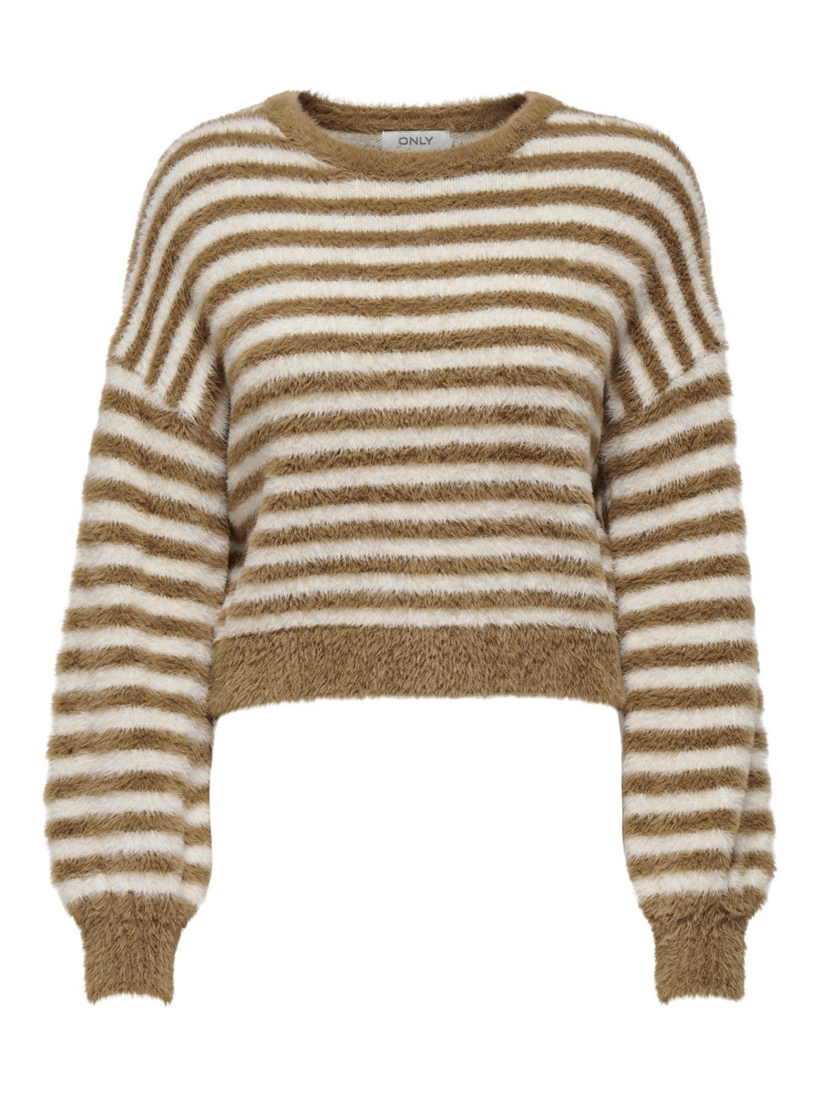 ONLPIUMO L/S PULLOVER KNT - Toasted Coconut/W. EGR