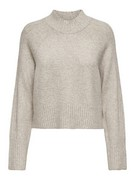 ONLMACADAMIA L/S HIGHECK PULLOVER B - Oatmeal/W. M